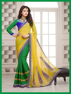 Show details for Yellow-Green Georgette Designer Saree