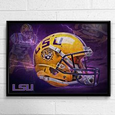 LSU Tigers Football Poster Head Gear Authentic by SportPostersUSA