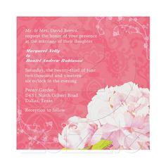 Peony Bloom, Swirls, Coral Damask Floral Wedding Personalized Invitations from Zazzle.com    #flower #pink #invitation #invites #wedding #bridal_shower #zazzle #peony #bridal #stationery #wedding_invitation #damask  #zazzle