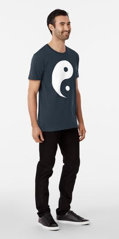 'Yin Yang Black and White' Premium T-Shirt by identiti Custom Design Shirts, Shirt Designs, Black Side, Black And White, Yin Yang Designs, Creative T Shirt Design, Tshirt Colors, Chiffon Tops, Looks Great