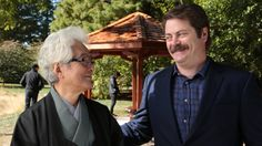 Illinois alumnus Nick Offerman returned to campus during Homecoming 2013 to construct a gazebo, or azumaya, in honor of his mentor, Professor Emeritus Shozo ...