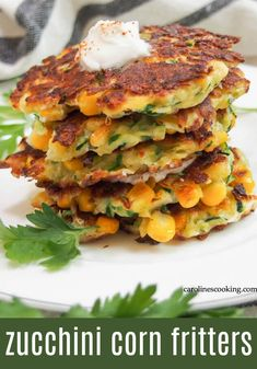 Zucchini Corn Fritters, Sweet Corn Fritters, Squash Fritters, Corn Zucchini Recipe, Corn Fritters Healthy, Zucchini Zoodles, Corn Fritter Recipes, Vegetarian Recipes, Cooking Recipes
