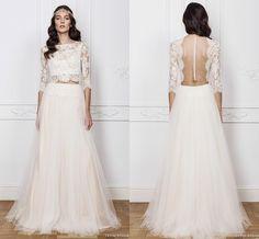 Znalezione obrazy dla zapytania two piece wedding dress