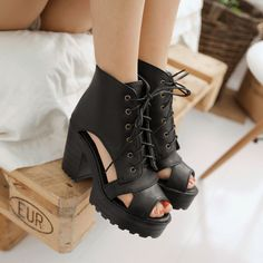 X womens gothic cut out Punk chunky heels lace up Roman booties sandals peeptoe #Unbranded #OpenToe