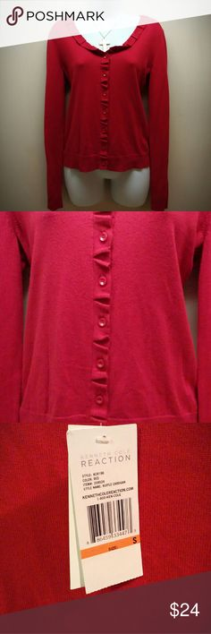 Nwt! Kenneth Cole reaction cardigan Brand new,  so soft and a beautiful red color! Kenneth Cole Reaction Sweaters Cardigans