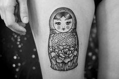"dogma-dotwork: ""Matryoshka tattoo by 23Dogma. http://instagram.com/dogma_dotwork/ "" #Socute ❤"