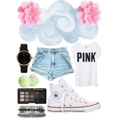 cute outfits pink brand shirts and converse - Google Search