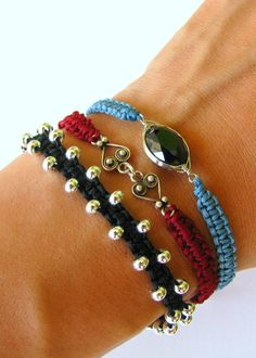 This listing is for three boho stacking bracelets. These macrame bracelets are made using Chinese knotting cord, and either metal beads or a metal Jewelry Knots, Diy Jewelry, Beaded Jewelry, Jewelery, Handmade Jewelry, Jewelry Design, Jewelry Making, Macrame Bracelets, Handmade Bracelets