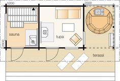 Haapa Kerrosala 15 m² Kokonaiskäyttöala 35 m² Tämä rakennus saatavana vain pihahirsillä lamellihirsi 45 mm ja höylähirsi 70 mm. Haapa on raikas pesusauna ja rannan elävöittäjä, jonka sydän on reilun kokoinen saunatupa. Tupa on viihtyisä illanviettopaikka. Se toimii myös pukuhuoneena ja tarvittaessa yöpymistilana. Saunan päädyssä olevalla oleskelukuistilla voit nauttia ihanasta kesän lämmöstä. Pitkän mallinen, rantaviivan suuntainen rakennus on heppo upottaa maisemaan.