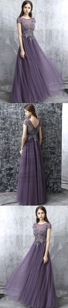 Elegant Round Neck Applique Prom Dress,Long Tulle Evening Dress M1231#prom #promdress #promdresses #longpromdress #promgowns #promgown #2018style #newfashion #newstyles #2018newprom #eveninggown #roundneck #tulle #appliques