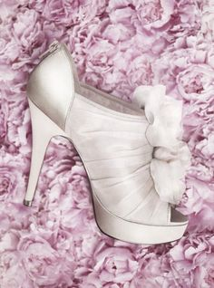 Vera Wang   Platform Shoe with Organza Flowers, $98