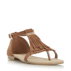 Head Over Heels Ladies LAILAH - Fringe Toe Post Flat Sandal - tan £25.00 | Dune Shoes Online