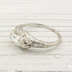 Image of .75 Carat Vintage Marquise Diamond Engagement Ring