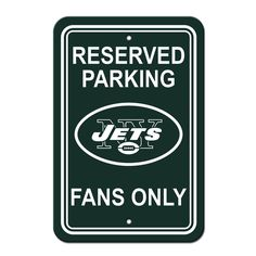 New York Jets Sign - Plastic - Reserved Parking - 12 in x 18 in