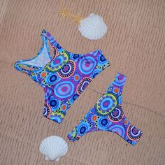 Triangle Color mix print high neck bikini set