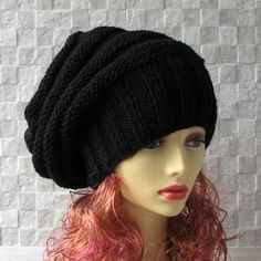 MADE TO ORDER, ALLOW UP TO 5 DAYS BEFORE SHIPPING.   Custom baggy knitted hat. This beautiful hat beanie, knitted in 100 acrylics.  Available in sizes: S - 19.5 - 21.3 inches (50 - 54 cm) M - 20.5 - 22.4 inches (53 - 57 cm) L - 21.5 - 23.2 inches (55 - 59 cm) XL- 22.8 - 24.5 inches (58 - 63 cm)  Color - BLACK. Shipping time is usually 7 - 20 days to most locations in the world.  http://www.etsy.com/shop/AlbadoFashion?ref=si_shop  Have any questions? Contact the shop o...