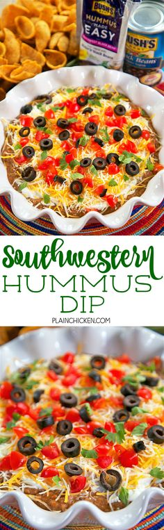 Southwestern Hummus Dip - 2 ingredient homemade black bean hummus topped with sour cream, cheese, tomatoes, olives and cilantro. Add some green chiles to the hummus for a kick! I took this to a party and everyone loved it. Even the hummus, black bean and sour cream haters raved about this simple dip. Ready in 5 minutes!! Can't beat that!
