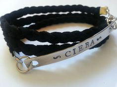 Handstamped Name Bracelet, Personalized Leather Wrap Bracelet, Custom Braided Faux Suede Bracelet
