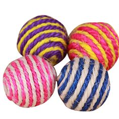Funny Cat Kitten Sisal Rope Weave Ball Teaser Play Chewing Scratch Catch Toys Pets Puppy Toy Cat Accessories Randomly color