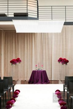 purple flowers, white and plexi chuppah, hatch creative studio - christian oth studios Indoor Wedding Ceremonies, Wedding Ceremony Decorations, Wedding Designs, Wedding Styles, Wedding Table Centres, Sister Wedding, Purple Wedding, Fall Wedding, Wedding Inspiration