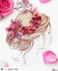 67 Ideas Design Fashion Illustration Grace Ciao For 2019 Flower Crown Drawing, Flower Art, Grace Ciao, 3d Quilling, Girly Drawings, Illustrators On Instagram, Arte Floral, Flower Fashion, Floral Bouquets