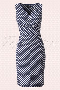 King Louie Cross over Breton Striped Navy Blue Dress 100 39 13978 20150213 0005W