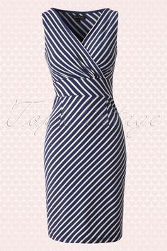 King Louie Cross over Breton Striped Navy Blue Dress 100 39 13978 20150213 0005W