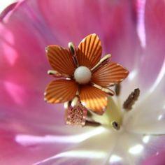 SIZE 7.5 Vintage Antique Recycled Orange Flower Ring