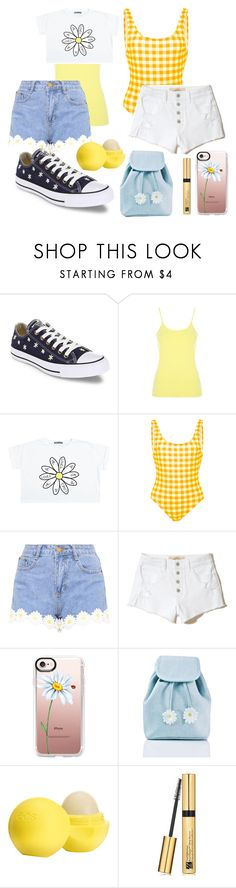 """rev it up: daisy road trip style"" by stylegirl12356 ❤ liked on Polyvore featuring Converse, Tori Praver Swimwear, Hollister Co., Casetify, Sugar Thrillz, Eos and Estée Lauder"