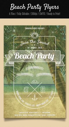 This editable flyer is the perfect invitation for your summer party or beach event.