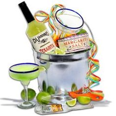 Margarita Madness Gift Basket  $79.99 This basket comes with everything needed to make the perfect refreshing Margarita. Two cactus margarita glasses wait to be rimmed with Margaritaville's delicious Sweet & Salty Lime Margarita Salt, filled with all-natural, handcrafted Margarita Mix by Powell... More at GourmetGiftBaskets.com.