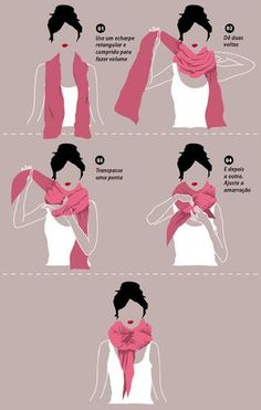 Tying a pashmina scarf (can be worn as a shawl as well! Ways To Wear A Scarf, How To Wear Scarves, Tie Scarves, Looks Style, My Style, Scarf Knots, Blanket Scarf, Fashion Beauty, Fashion Tips