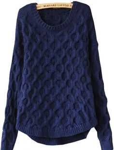 Navy Long Sleeve Cable Knit Loose Sweater