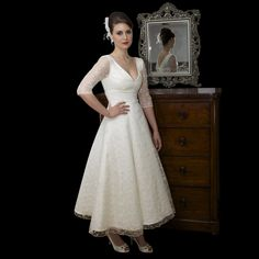 Tea Length Lace Wedding Dress By Timeless Chic Available To Buy Online With Next Day Delivery At Cutting Edge Brides