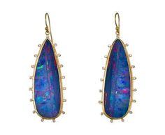 Boulder Opal Earrings with Diamond Satellites