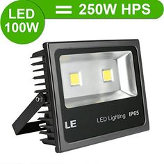 awesome LE® 100W Super Bright Outdoor LED Flood Lights, 250W HPS Bulb Equivalent, 10150lm, Daylight White, 6000K, Security Lights, Floodlight, 5 Years Warrenty