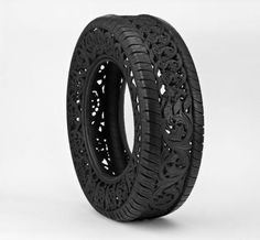Wim Delvoye, Untitled (Car Tyre), 2009, hand carved car tyre, 77 x 24 cm
