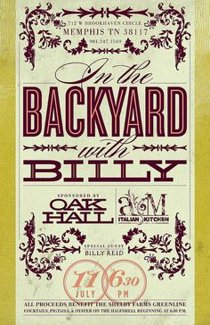 Harvest | AMIK | In the Backyard with Billy Reed | poster | concept 2b - front by killingclipart, via Flickr