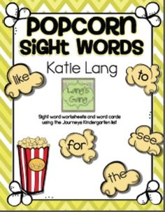 Popcorn Sight Word Activities - color certain words one color and other words a different color