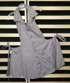 Best 12 R Upcycled Apron Men's Shirt Apron, Apron Dress, Apron Designs, Techniques Couture, Sewing Aprons, Shirt Refashion, Diy Clothes, Reuse Old Clothes, Sewing Hacks