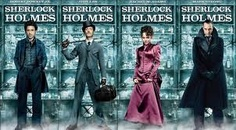 "Cast posters for ""Sherlock Holmes"" (Warner Bros., 2009) - left to right: Robert Downey Jr., Jude Law, Rachel McAdams, Mark Strong."