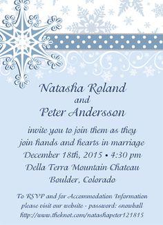 """Snow Ribbon Party Invitations. 4 7/8"""" x 6 3/4""""."""