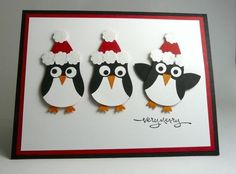 penguin punch art with santa hats!