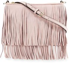 Rebecca Minkoff pebbled leather crossbody bag with swinging fringe.