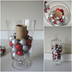 Adding a cardboard tube to the center of a tall jar can help limit the number of decorations it takes to fill it up. Christmas Vases, Silver Christmas Decorations, Christmas Centerpieces, Christmas 2019, Simple Christmas, Christmas Home, Christmas Wreaths, Etsy Christmas, Holiday Crafts