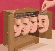 Put on a happy face Art Print by John Holcroft Art And Illustration, Conceptual Art, Surreal Art, Pop Art, Art Visage, Satirical Illustrations, Face Art, Oeuvre D'art, Collage Art
