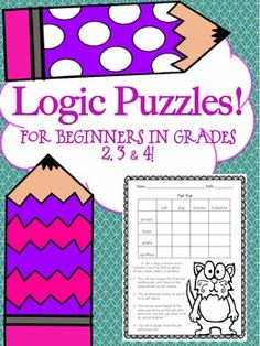 Logic Puzzles For Beginners!  Set of 8 Great For Critical