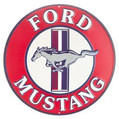 Round Ford Mustang Embossed Tin Sign