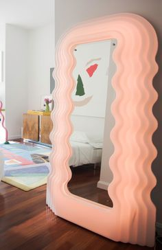 This was my first piece that I discovered when I was in Paris so it means a lot says Cayre of the Ultrafragola mirror… - A Young NYC Collector Pays Homage to the Design of Her Generation—at Home and Online Home Interior, Decor Interior Design, Interior Decorating, Danish Interior Design, Colorful Interior Design, Pink Design, Home Design, Smart Design, Room Ideas Bedroom