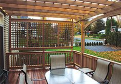 pergola with privacy screen (but with patio instead of deck)